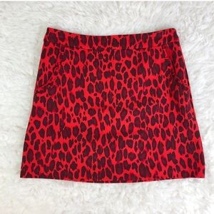 NWT Red Leopard Kate Spade Skirt - 14Y